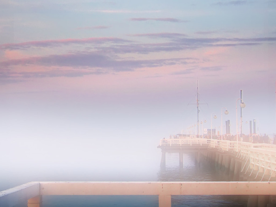 A foggy evening at the sea | fog, dock, sea
