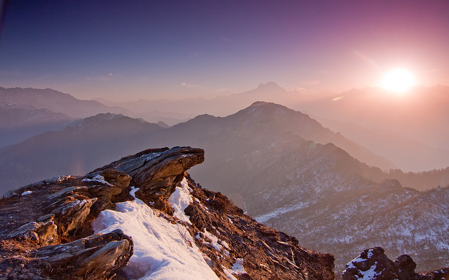 Sunrise at the Himalayas | sun, snow, sunrise, mountains