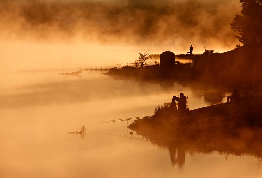 Fishing at dawn | silhouette, lake, fog