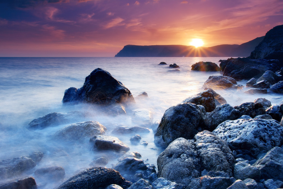 The rocks of Aiya | foam, sea, rocks, sunset