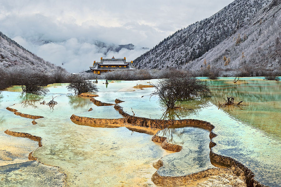 At the head of the Yellow Dragon | clouds, house, mountains, water