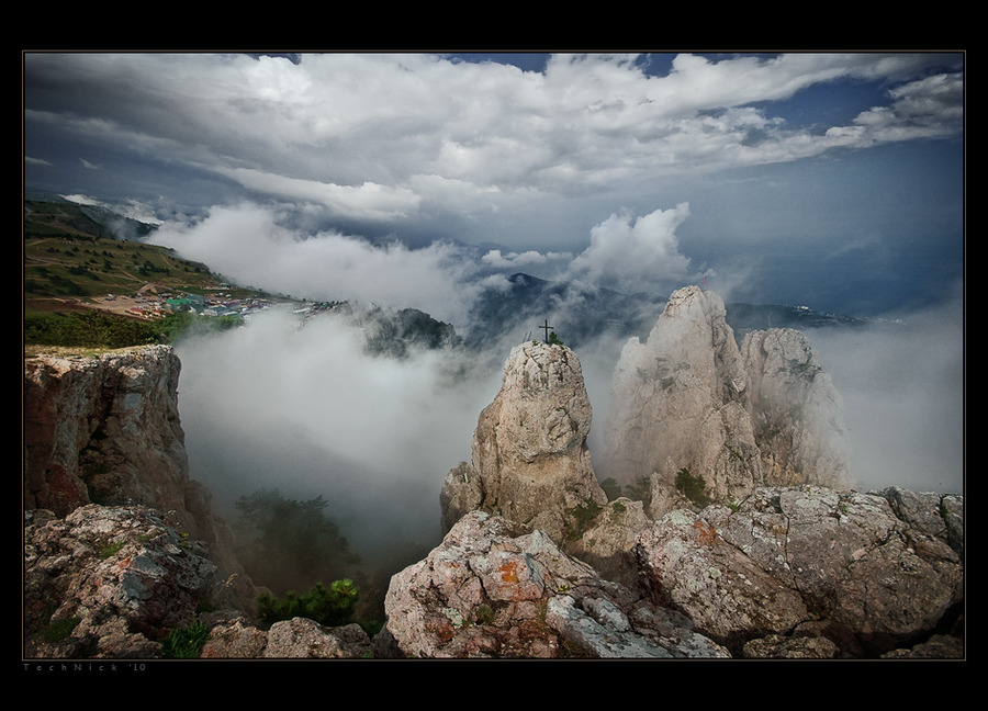 Among the clouds | fog, rocks, clouds