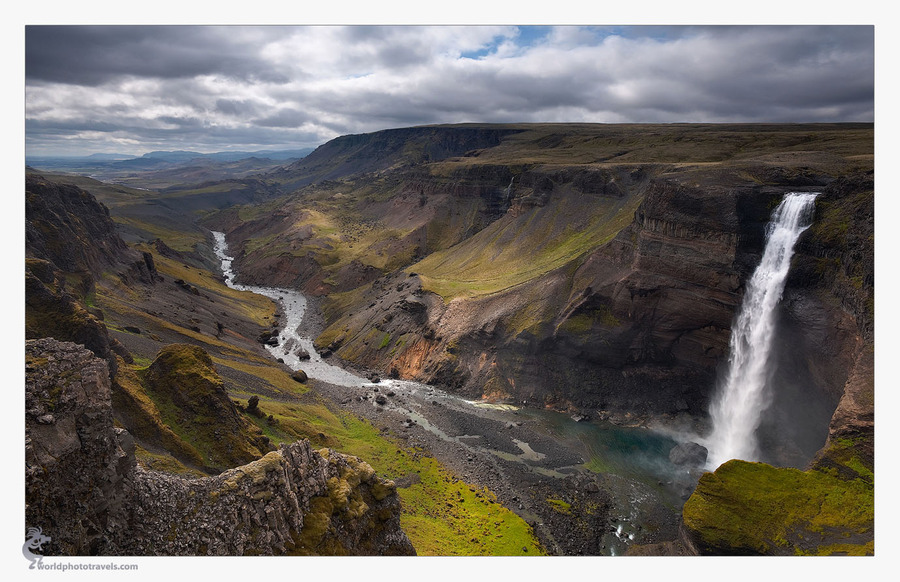 Icelandic waterfall | panorama, mountains, waterfall, valley, river