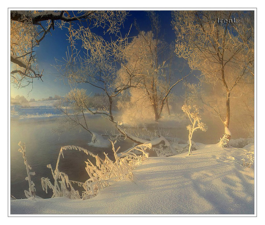Winter's whims | winter, hoarfrost, river, snow