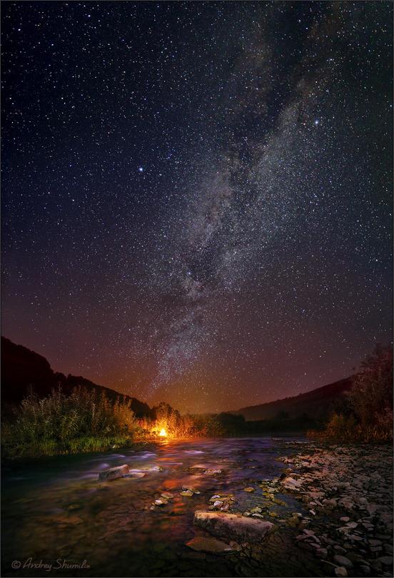 Under the stars | sky, night, river