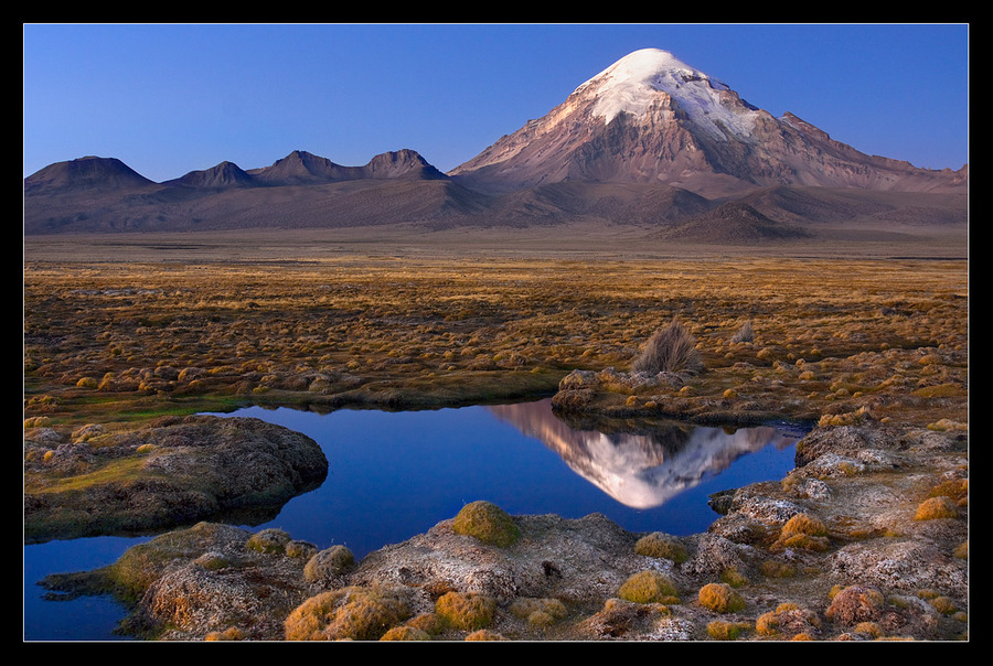 Sajama Volcano | water, volcano, rocks, stones, colourful, sky, reflection, hills