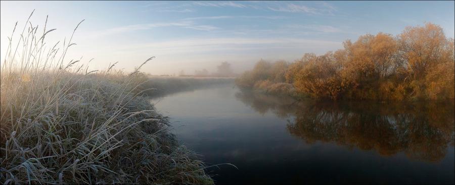 Crisp air of an autumn morning | shore, water, trees, haze, mist, sky, autumn, reflection, river, grass, morning