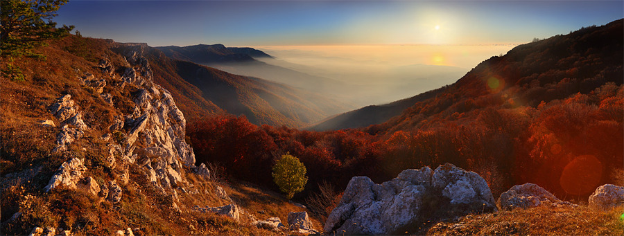 Greeting the dawn | mountains, mist, panorama
