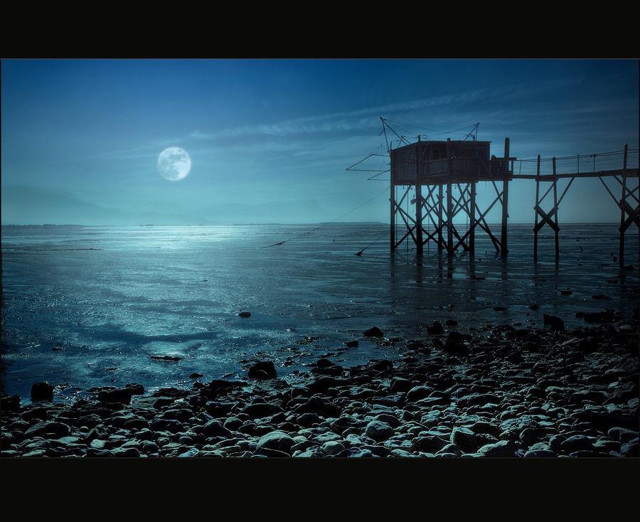 Moonshine   rocks, moon, sea
