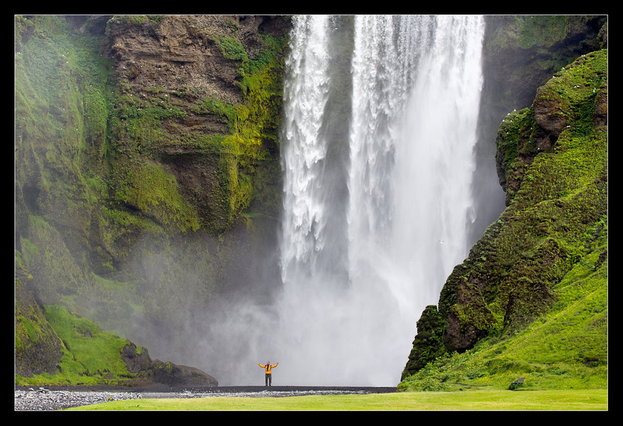 The power and force of the waterfall | waterfall, people