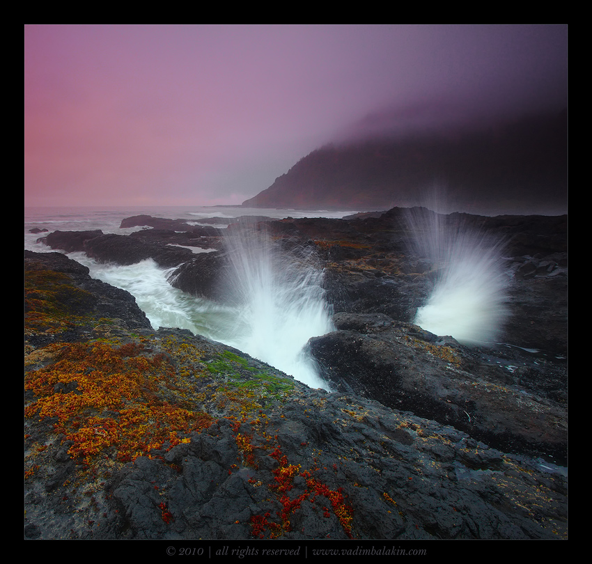 Lilaceous moment | evening, water, waves, haze, mist, dusk, sunset, rocks, stones, colourful, sea
