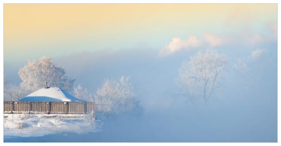 Bracing landscape | village, trees, house, haze, mist, winter, hoarfrost, snow, fog