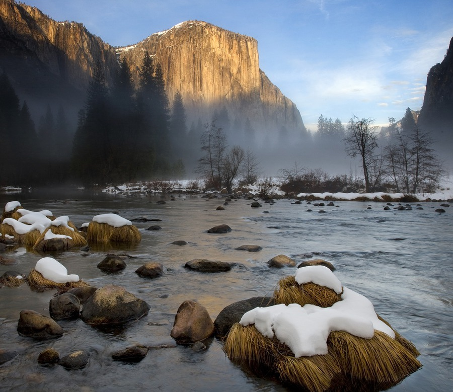 Fog over the water   water, mountains, trees, haze, mist, winter, rocks, stones, river, rocks, snow, fog