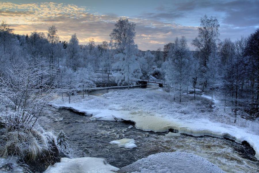 White village   water, village, trees, winter, bridge