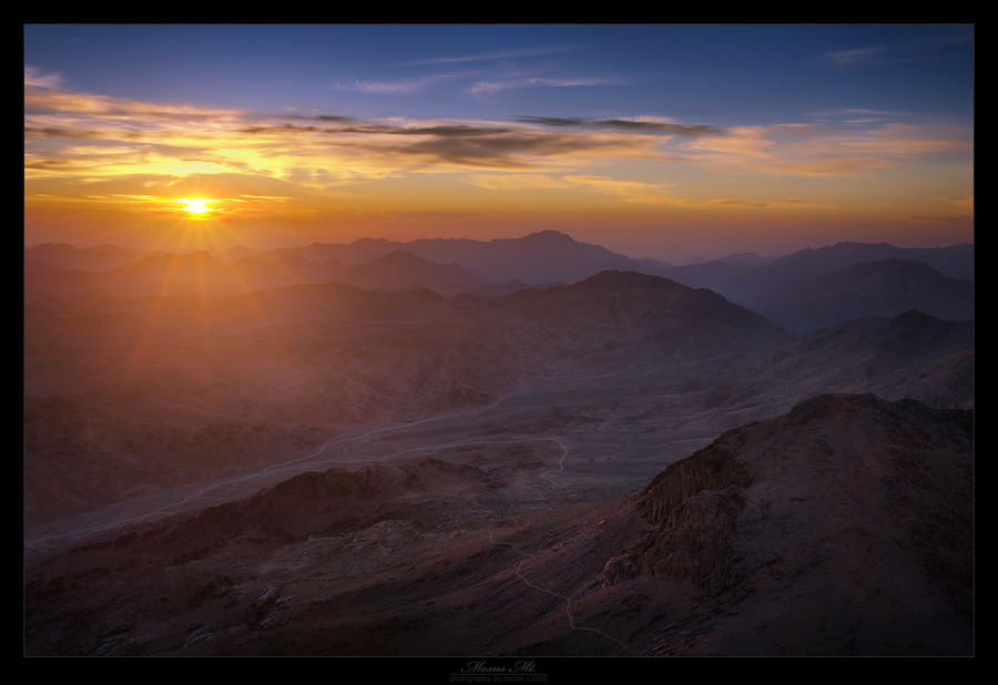 Mountains illuminated with the sun | colourful, sunset, dusk, mountains, evening, beams, sky, sunlight, sun