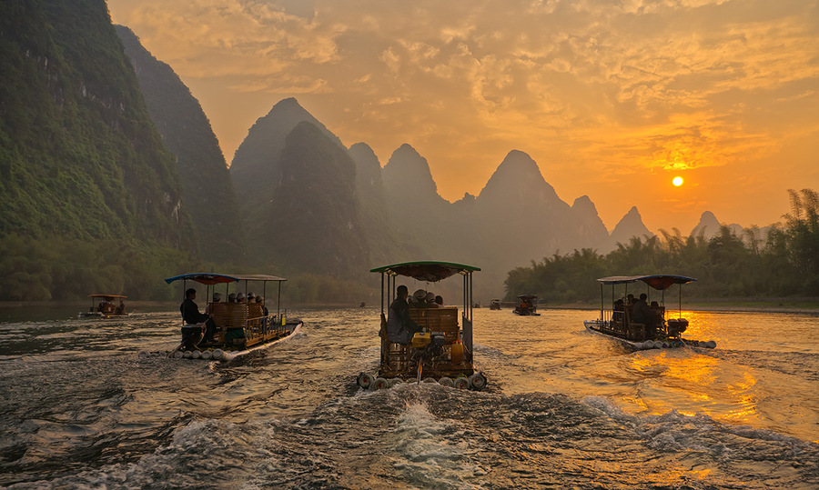 River sail sing | evening, dusk, boat, China