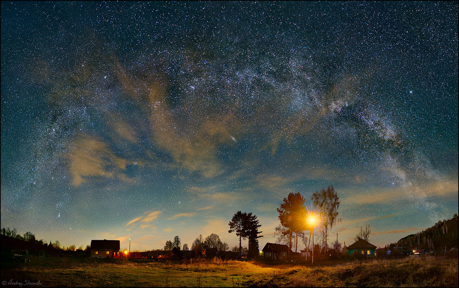 Star arch | evening, village, trees, house, stars