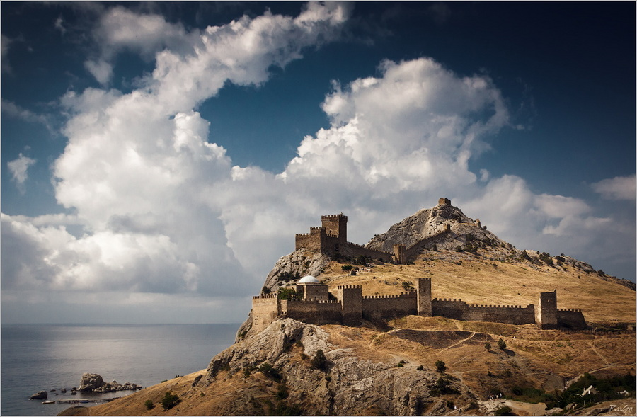 Genoese fortress | shore, skyline , sea, sky, clouds, wharf, fortress