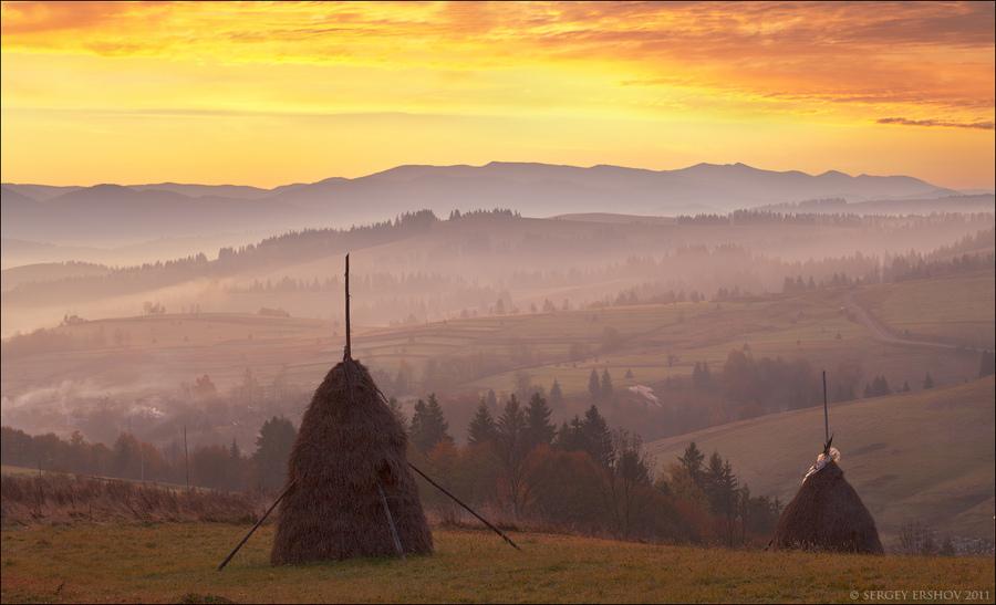 Haystacks  | haystack, dawn, hills, countryside