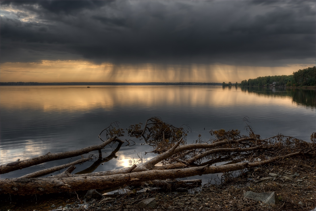 Clouds reflecten in the river | reflection, clouds, river, fallen trees