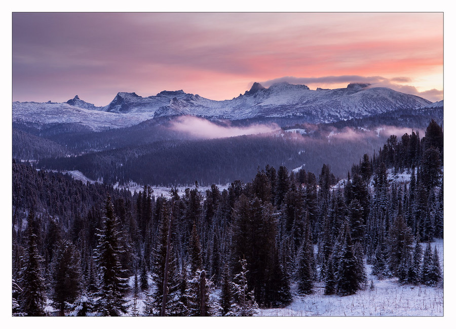 Morning in the mountains | mountains, winter, forest, snow, morning