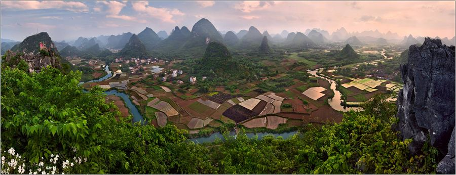 China | village, trees, valley