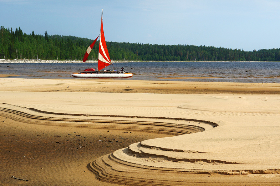Yacht in front of a beach | yacht, beach, lake, pine wood