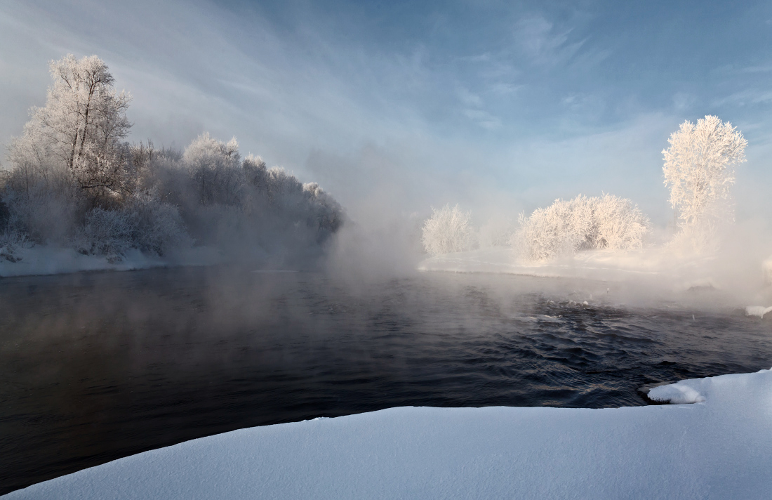 Steam on a lake | lake, steam, water, winter