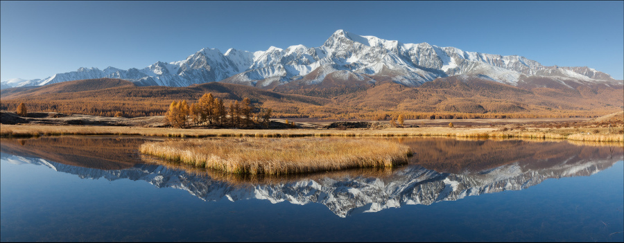 The perfect reflection | shore, skyline , mountains, lake, reflection