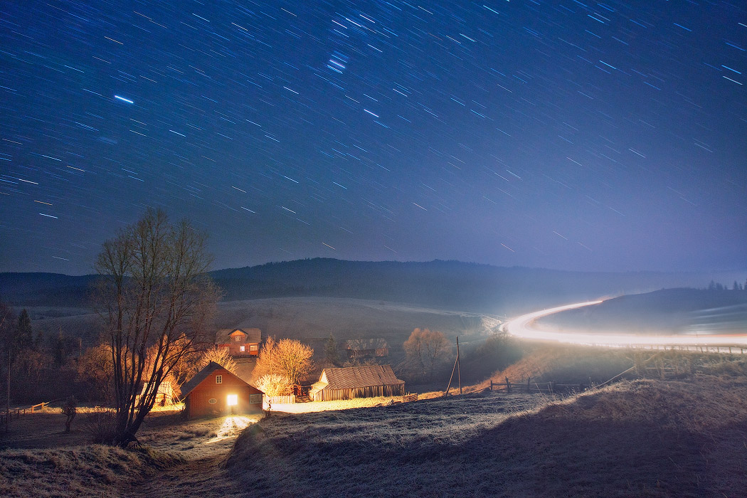 Star shower in the countryside | raod, star shower, coutryside, night