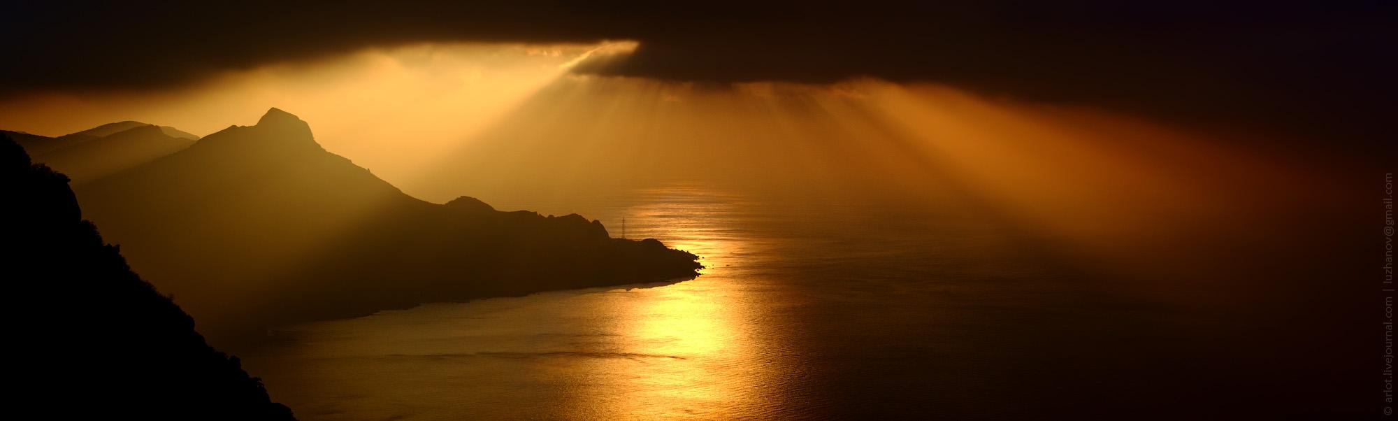Dawn over the cape Sarych | dawn, cape, Sarych, Crimea, rays, shine , sky  , sea, water, landscape