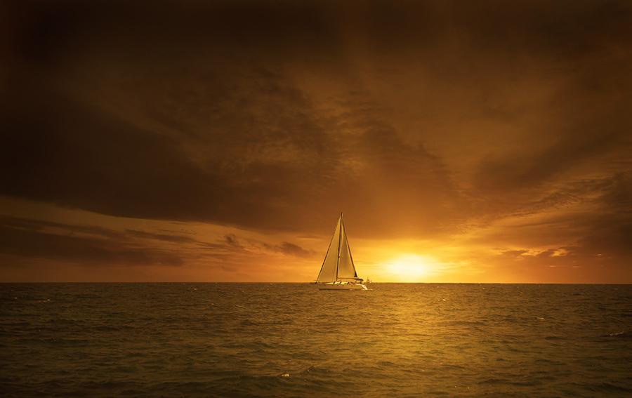 Lonely yacht   yacht, sunset, ocean, sky