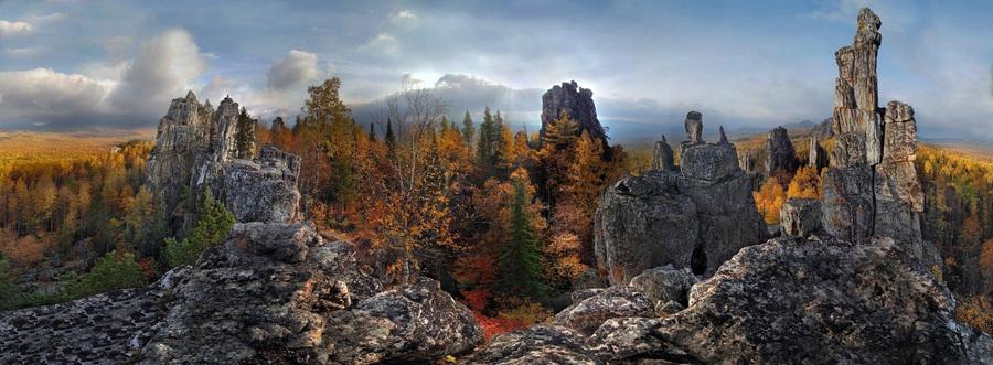 Fairytale ridge | skyline, mountains, rocks, forest