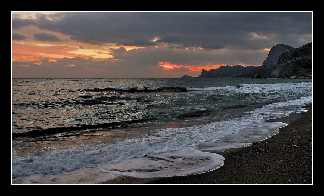 Sunset, sea | landscape, nature, sea, sunset, scarlet, evening, clouds, skyline, waves, coast