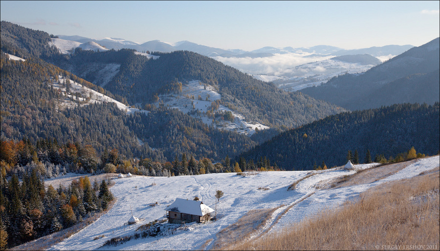 Ukraine. Carpathians | mountains, house, forest, snow