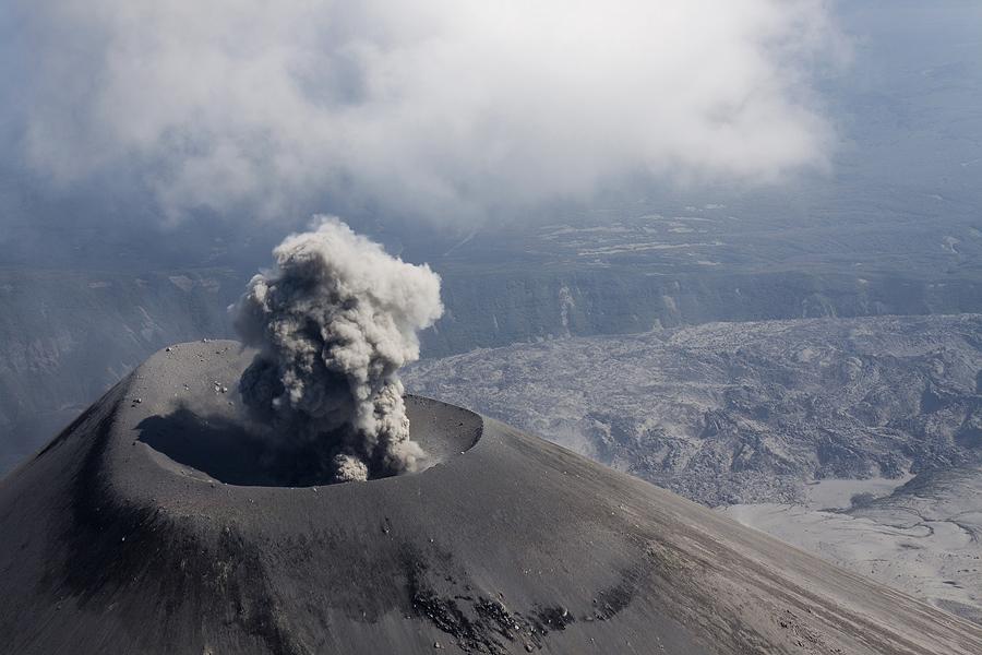 Eruption | volcano, skyline, mountains, clouds