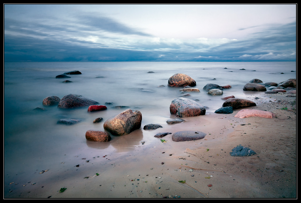 Colour stones in water | landscape  , sea , sky , clouds , sand, stones, water , skyline , colour , coast