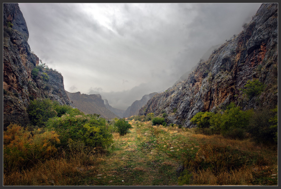 Armenia. Autumn in the Mountains | mountains, road, mist, canyon, sky, clouds
