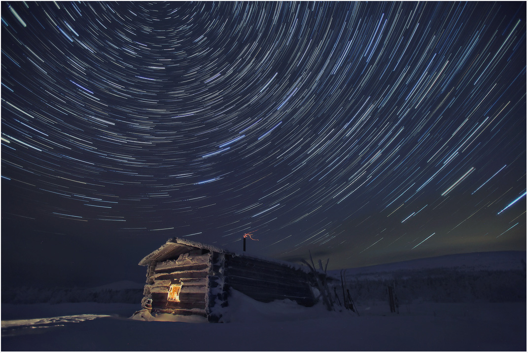 Winter dance of the stars, Ural | landscape, winter, nature, stars, night , Ural, mountains  , sky, house, light