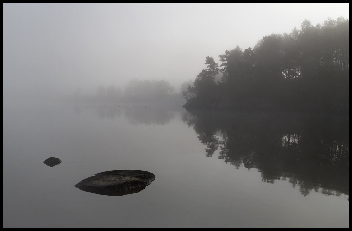 Dull morning on a lake, Norway | Norway, lake  , morning , fog , water , trees , stone , sky , landscape , dull