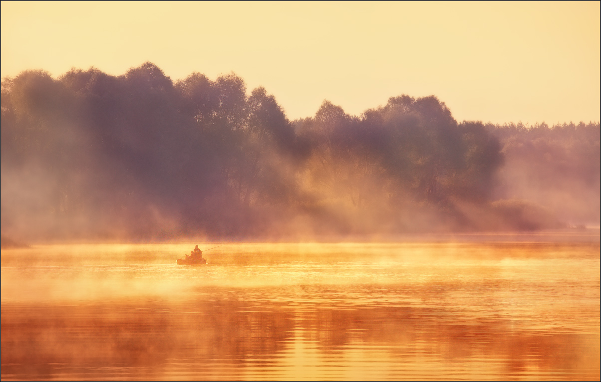 Fisherman in fog | steam, fog, river, fisherman