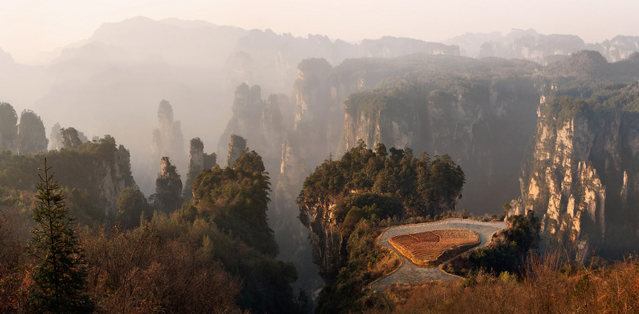 Country of dragons | mountains, trees, mist, rocks, China