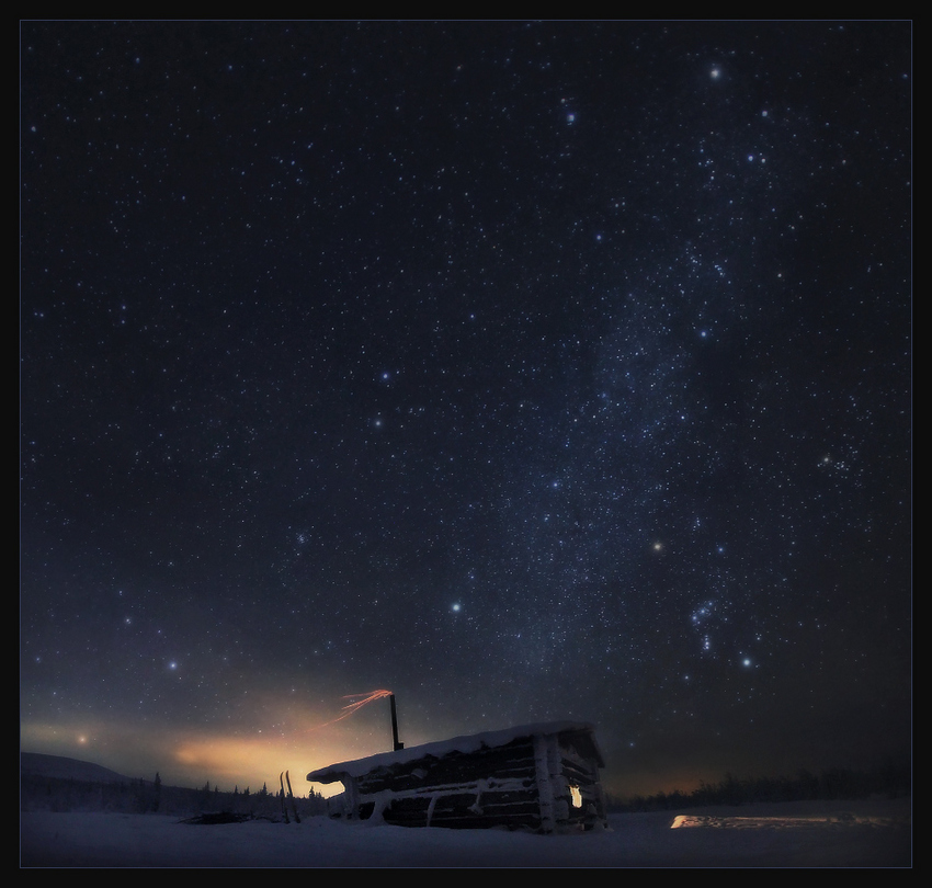 Star eternity | house, winter, sky, night, stars