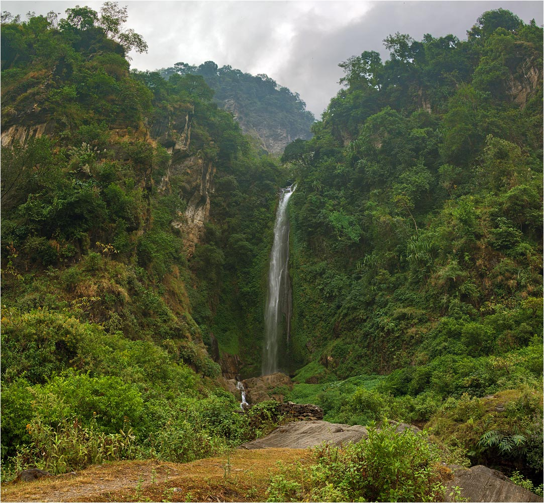 Waterfall, Nepal | landscape, outdoor, nature, green, trees, Nepal, Annapurna, Bhulbhule, waterfall, sky