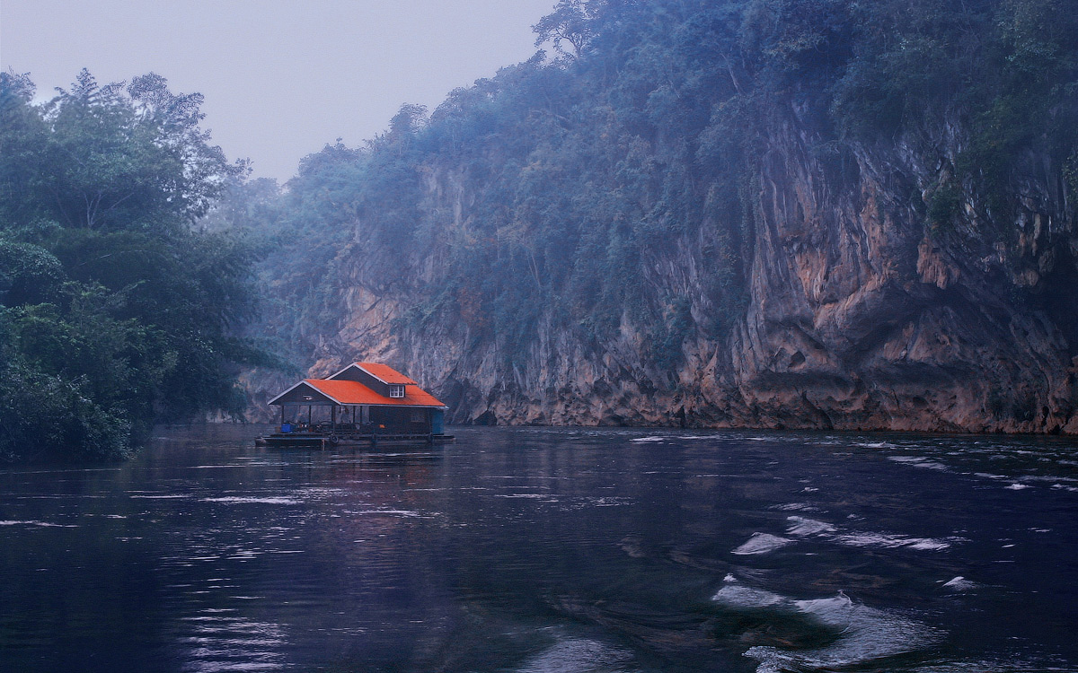 House on the water, Thailand | landscape, outdoor, nature, house, water, river, Thailand, Kwai, trees, island