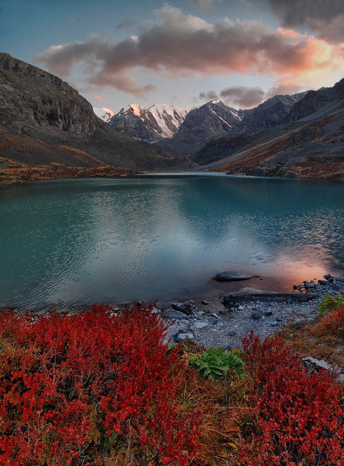 Karakabak, Altai   Altai, Karakabak, gorge, river, grass, red, clouds, mountain, landscape, gleam