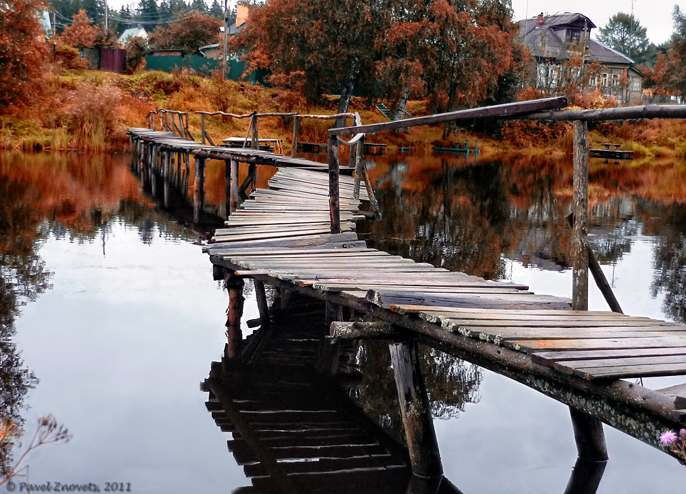 �urved wooden bridge | landscape, nature, village, water, houses, trees, wooden bridge, curved, grass, old