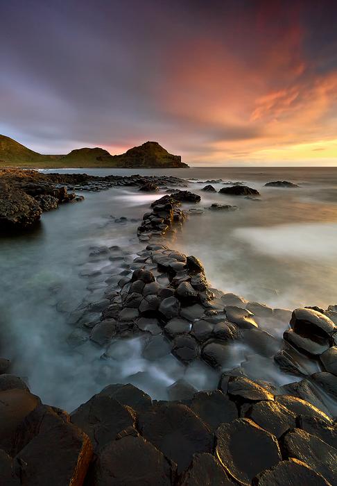 Sea wonders | sea, colorful sky, stony shore, sea water