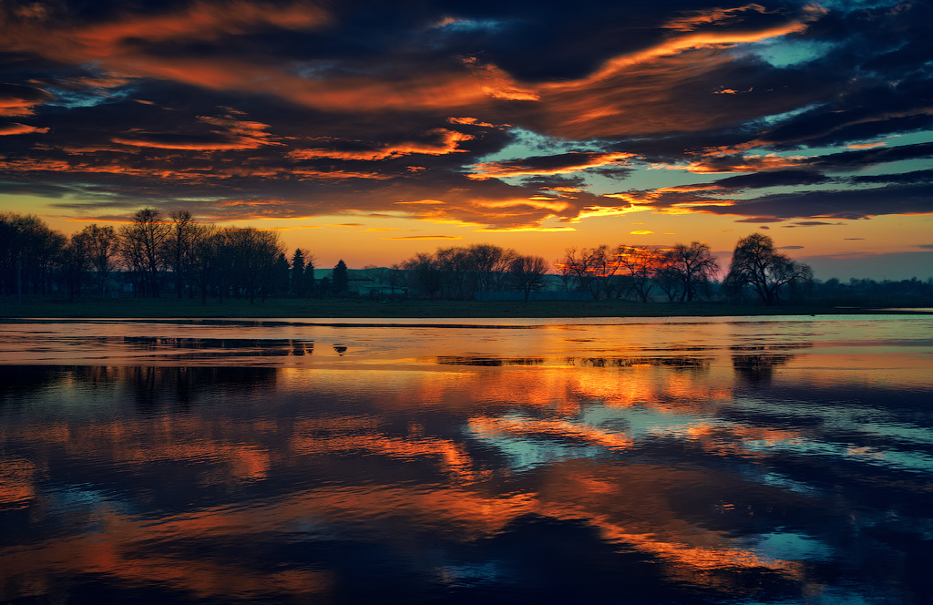 Red clouds above water | landscape, water, sky, sunset, nature, coast, trees, evening, red, clouds