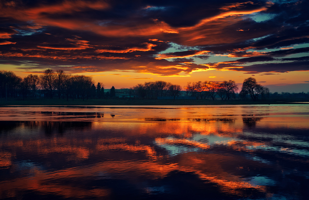 Colorful sunset | landscape, sky, clouds, colorful, scarlet , water, trees, sunset , coast, evening